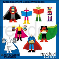 Superheroes clip art set in fun bright colors! More superhero bodies with books clipart pack features multiracial kids in superhero costumes. Boys and girls holding books. A fun graphics set for library, reading, ELA theme projects. Get superhero heads here Link-Superheroes clipart - More superhere heads clip art