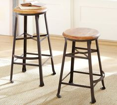 Decker Barstool - traditional - bar stools and counter stools - other metro - Pottery Barn Sectional Furniture, Furniture Upholstery, New Furniture, Welded Furniture, Furniture Ideas, Kitchen Stools, Counter Stools, Bar Stools, Kitchen Dining