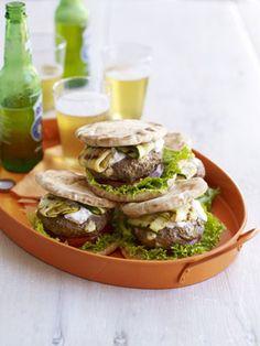 Lamb-Feta Burgers with Tzatziki Recipe