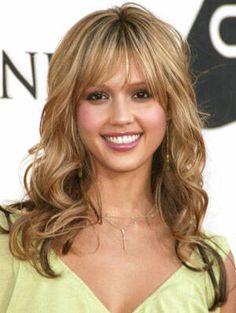 Front fringe/bangs medium to long layers curly hair style