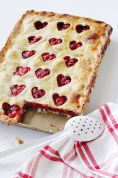 Strawberry Sweetheart Slab Pie