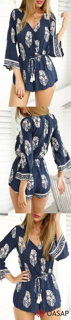 Fabulous & flawless with OASAP! Nothing can be easier than a #romper Vintage Plunging Neck Flare Sleeve Romper