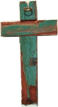 teal wood cross