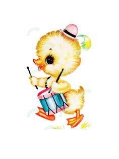 Large,Vintage Digital download, Fluffy Chick, Vintage greeting card, Printable, Birthday Cards, Scrapbooking, collage sheet