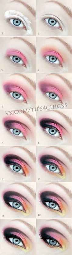 Purple pink orange yellow black makeup tutorial