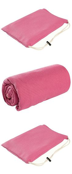 Nachvorn Yoga Towel, Microfiber Yoga Towel with Silicone Beads,Washable Non Slip Yoga Mat Towel, Free Carry Bag, Perfect for Hot Yoga, Bikram and Pilates towe,Rose Red