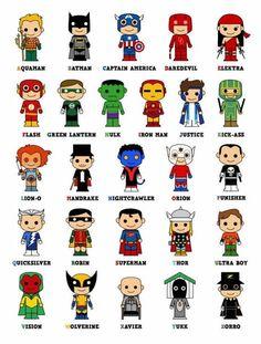 Cute Superhero Alphabet Poster(Okay--Kick-Ass and the Punisher aren't exactly preschool-friendly, but this is cute) Superhero Alphabet, Superhero Room, Superhero Party, Alphabet Posters, Superhero Classroom Door, Batman Party, Anniversaire Wonder Woman, Boy Room, Kids Room