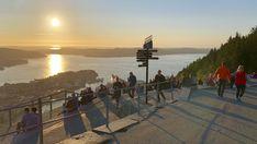 Vi svarer: Hvordan komme seg til Fløyen i Bergen Bergen, Norway, Celestial, Sunset, Travel, Outdoor, Heavens, Voyage, Outdoors