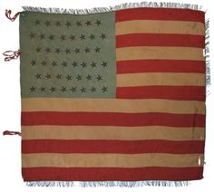 A Rare Regimental Battle Flag from  the Spanish American War Period, 45 Stars,  Silk with Bullion Stars and Fringe, c1896-1908