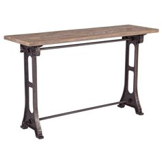 Caribou Dane Graydon Natural and Industrial Patina Wood Top Console Table Console Table, Dining Table, Shabby, Cast Iron, Home And Garden, Metal, Wood, Furniture, Godmothers