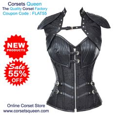 Ivanovic Faux Lether Brocate Corset With Sholder Plates Jacket, Black Corset #Blackdress #black #leather #jacket #overbustcorset