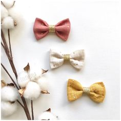 Hair clips / bow hair clip alligator or system anti slip double gauze and fabric glitter for baby or little girl Baby Couture, Couture Sewing, Creation Couture, Diy Hair Bows, Hair Ties, Diy Hairstyles, Diy Gifts, Creations, Crochet