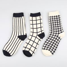 Cheap white socks, Buy Quality socks white directly from China socks sock Suppliers: 1 Pair Japanese Lattice & Vertical Stripes Harajuku Women/Men Fashion Causal Socks Autumn Winter Classic Black&White Socks Women's Shoes, Sock Shoes, Cute Socks, My Socks, Black And White Socks, Black White, England Mode, Jeans Boyfriend, England Fashion