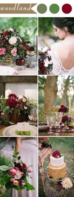 burgundy and green woodland wedding ideas