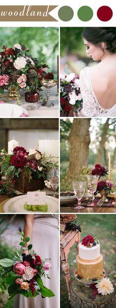 burgundy and green woodland wedding ideas