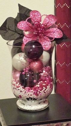 Christmas vase in pink, black, and white that I did for Christmas 2013....