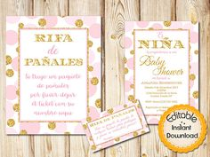 28 best spanish baby shower invitations images on pinterest in 2018 spanish pink and gold baby shower invitation bundle girl instant download editablediaper raffle sign and tickets diy printable 5x7 filmwisefo