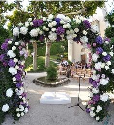 WEDDING Floral Arc; white and purple hydrangeas and roses for magical # Purple Wedding ... Wedding ideas for brides, grooms, parents & planners ... https://itunes.apple.com/us/app/the-gold-wedding-planner/id498112599?ls=1=8 … plus how to organise an entire wedding ♥ The Gold Wedding Planner iPhone App ♥