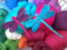 Look What Ive Made - Projects - Other - Needle Felted Dragonflies Dragon Fly Craft, Needle Felting Tutorials, Felt Embroidery, Nuno Felting, Felt Hearts, Felt Dolls, Felt Ornaments, Wool Felt, Felted Wool