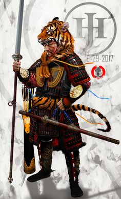 """Elite Tang dynasty (Chinese) cavalryman wearing the distinctive 虎冠 """"tiger crown"""" that marked them as some of the most elite warriors on the battlefield, sometimes the item would be sewn out of colorful fabrics with gilded rims and lacquered features that imitated a grimacing tiger while other times real tiger skin (claws and head) would be used to give the wearer a ferocious aspect. These wings usually gathered the bravest and the highest quality of fighting troops."""