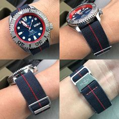 The Horology Matters Padi Yacht Concept on the Erikas Originals Trident Navy Blue MN Strap with Red Stitch. Send us a PM for orders… Simple Watches, Stylish Watches, Cool Watches, Watches For Men, Seiko Mod, Tourbillon Watch, Seiko Diver, Seiko Watches, Bracelet Watch