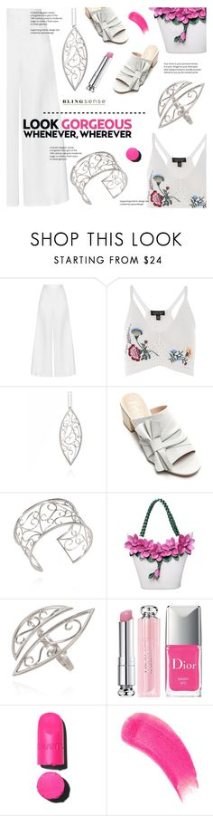 """blingsense"" by blingsense ❤ liked on Polyvore featuring Miguelina, Topshop, Nanette Lepore, Christian Dior and Sisley"