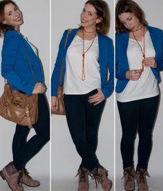 Look do dia: como usar blazer azul-klein H&M, calça skinny GAP, e coturno no look para trabalho e bar. Blog de moda.