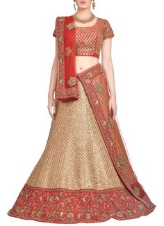 Buy Beige N Red Hand Woven Raw Silk Lehenga Choli online from the wide collection of Lehenga.  This Red,  Beige  colored Lehenga in Raw Silk  fabric goes well with any occasion. Shop online Designer Lehenga from cbazaar at the lowest price.