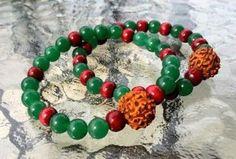 8 mm Green Jade Rudraksha Wrist Mala Beads Healing Bracelet - Blessed Karma Nirvana Meditation Prayer Bead For Awakening Chakra Kundalini