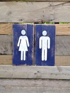 Restroom Sign Bathroom Painted Wood