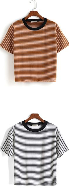 Contrast Collar Striped Loose T-shirt. Hot items among the young. Romwe.com give it with up to 60% off! More