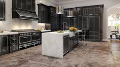 Another elegant view created for our American client Viking Range. The dark, shiny finishes of the kitchen cabinets are a nice reminder of the unique Italian style of these high-end appliances! Viking Kitchen, Tuscany Kitchen, Viking Range, Viking Appliances, Home Chef, Italian Style, New Kitchen, Vikings, 3 D