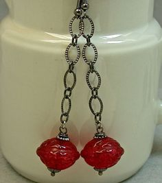 Vintage Japanese Red Abacus Ruffled Lucite Bead by ForeverInStyle, $22.00