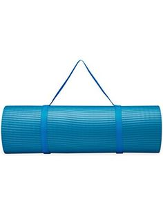 Gaiam Fitness Mat with Carrying Strap, Vivid Blue, 15mm ❤ Gaiam