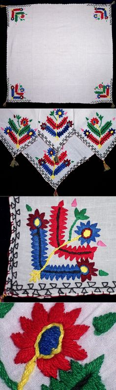 An embroidered 'çevre' (square kerchief; intended to be worn by men as a scarf around the neck).  From Trakya/Thrace or from Bulgarian Turks, ca. 1950-1975. 'Two-sided' embroidery ((identical on both sides of the fabric), cotton on cotton, stylized floral motifs.  (Inv.nr. brdw028 - Kavak Costume Collection - Antwerpen/Belgium).
