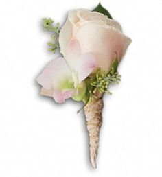 Dashing Boutonniere   A light pink rose is accented with light pink dendrobium and seeded eucalyptus   Flowers by Rosemary Duff Florist