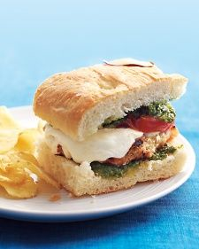 Rethink+your+burger:+Tomatoes+and+fragrant+pesto+give+this+sandwich+a+delicious+twist.