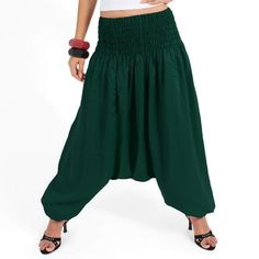 62f1a99ac5f Dark Green COLOR Alibaba Afghani Pants Wide Leg Yoga Legging Mens Harem  Trousers harem pants Yoga Legging Thai Long Jumpsuit Harem pants