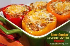 Slow Cooker Sausage Stuffed Peppers - Two Maids a Milking