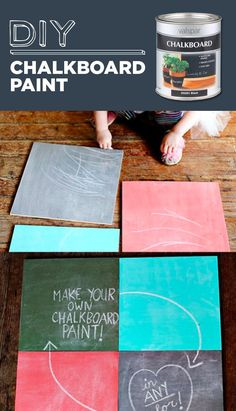 DIY Chalkboard Paint Mix 1 cup of latex house paint or acrylic craft paint with 1 tablespoon of non-sanded tile grout. Mix together until there are no lumps.