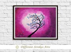 tree with blue flowers abstract art for by DifferentStrokesArts