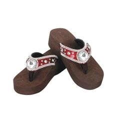 Red Large Diamond Concho Flip Flop