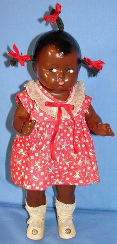 Outstanding 1927 Effanbee Black Baby Grumpy - Near mint! from heirloomdolls on Ruby Lane