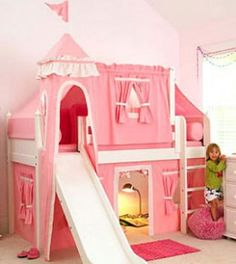 Hmmm...can we turn the boys bunk bed into something like this for sis?