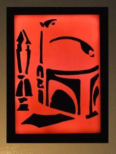 Boba Fett Star Wars wax painting led light box