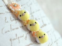 Needle felted chickens bag charm handmade by NozomiCrafts on Etsy, $24.00
