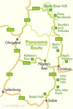The centerpiece of the Panorama Route - on Blyde River Canyon along - you can reach on the R532 road, north of Graskop. The access road from Johannesburg either via Nelspruit, Pilgrim's Rest and Sabie or Belfast, Dullstroom, Lydenburg and Pilgrim's Rest.