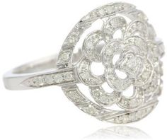 Sterling Silver Flower Diamond Ring (1/5 cttw, I-J Color, I2-I3 Clarity)