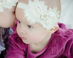 Items similar to Vintage inspired Ivory taupe satin lace headband,cream flower headband-newborn, baby,m2m persnickety-photo prop-flower girl- bridal on Etsy