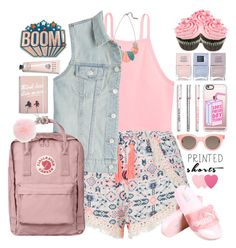 """""""Printed shorts"""" by doga1 ❤ liked on Polyvore featuring Casetify, Lafayette 148 New York, New Look, J Brand, Fjällräven, Anya Hindmarch, Sun Buddies, Nails Inc., Michael Kors and Sephora Collection"""